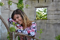 'Taty' i. (miranda.valenti12) Tags: light portrait sunlight building tree green abandoned window floral smile face leaves smiling hair outside leaf taty