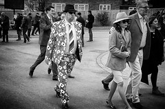He didn't know what suit to wear (Steve Greene Photography) Tags: street people urban blackandwhite man monochrome candid streetphotography suit races cheltenham nikond40 playingards