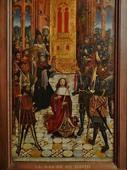 1502 - 'The Coronation of David' (circle of Matre d'Antoine Clabau(l)t), Picardie, Cathdrale Notre-Dame, Amiens, Muse de Cluny, Paris, France (roelipilami) Tags: david paris museum de mail cathedral d feathers skirt sacre muse cathdrale master armor harp armour amiens puy picard wrapper cluny coronation picardie rondel armadura armure rstung maitre 1502 anointing harnas picardy 1501 armet tasset cotte poleaxe dantoine kroning mailles fauld consagracion zalving salbung clabaut clabault