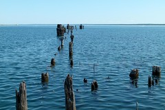 Old Dock in the Blue Sea (PGK88) Tags: wood old blue seascape abandoned water harbor dock horizon perspective posts derelict deserted