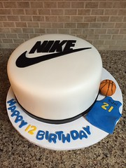 Nike Basketball Birthday Cake (dms81) Tags: birthday blue basketball yellow cake gold nike swoosh fondant gumpaste