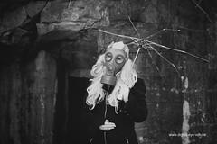rosa black (Wim Vandenbussche) Tags: strange forest umbrella model mask absurd bunker gasmask bos paraplu masker postapocalypse gasmaker ventiaansmasker rosablack
