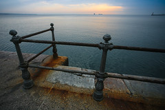 Rust and sea (frfourrier) Tags: sea colour colors port canon rust colours cities wideangle greece thessaloniki barrier
