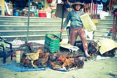 Chicken dance (Huey Yoong) Tags: hoian centralvietnam vietnam indochina southeastasia asia unescoworldheritagesite historical ancientcity travelphotography nikond600 nikkor28300mmvr locals people peopleportraits peoplephotography streetphotography lady chicken livestock seller market roadside streetside vendor animals