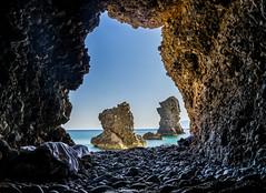 Enjoy the silence , Karpathos , Greece (MinasLyris) Tags: sea summer sun seascape beach rock landscape greek view sony 28mm hellas greece cave karpathos 2016 28f2 sonyfe