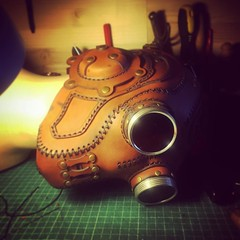 Mask is done and ready to be packed and shipped. #Cyberpunk #CyberGoth #postapocalyptic #postapocalypse #steampunk #steampunkmask #leathermask #handmade #LARP #dieselpunk #leather #Darkart #costume #burningman (tovlade) Tags: black girl face make up leather punk hand mask goth goggles made doctor cyber cybergoth cyberpunk plague larp steampunk postapocalyptic postapocalypse dieselpunk