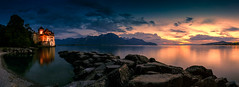 Chillon Castle Sunset Panorama (peterjcoughlan) Tags: chteaudechillon lakegeneva montreux switzerland landscape sunset night wonderfulworld goldcollection wow