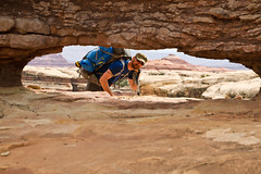 Peekaboo With a Hiking Buddy (jpmckenna - Madagascar Trip Now) Tags: utah hiking backpacking canyonlandsnationalpark canyonlands desertlandscape elephantcanyon getoutside needlestraverse