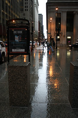 Onward [Explored 4/03/15] (Flint Foto Factory) Tags: city morning light urban chicago reflection wet illinois am spring slick flickr downtown loop jackson explore sidewalk clark april intersection rushhour showers onward 2015 explored