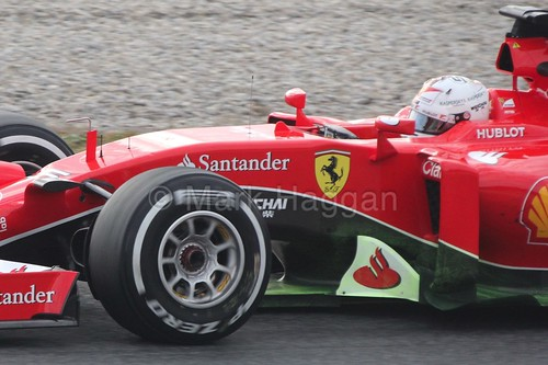 Sebastian Vettel in his Ferrari at Formula One Winter Testing 2015