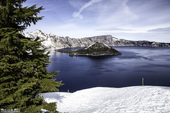Wizard Island seen from the rim of Crater Lake, OR - Oregon (Rick Drew - 23 million views!) Tags: park trees sky lake tree water clouds oregon forest canon island wizard or calm crater february feb ore 2015 5dmkiii