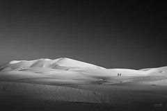 Morocco - Two people on sand dunes B&W (sadaiche (Peter Franc)) Tags: