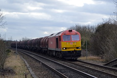 60100 approaching Tamworth with the 6E08 Wolverhampton Steel Terminal to Immingham, 5th March 2015. (Dave Wragg) Tags: diesel railway loco locomotive tug tamworth class60 60100 dbschenker 6e08