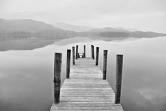 Derwent Water (March 2015 #2) (Lazlo Woodbine) Tags: england blackandwhite bw lake reflection water beautiful landscape mono march pier blackwhite pentax britain lakes lakedistrict peaceful calm cumbria serene derwentwater 1855mm keswick hdr thelakes landingstage britishcountryside thelakedistrict k7 2015 photomatix dynamicphotohdr