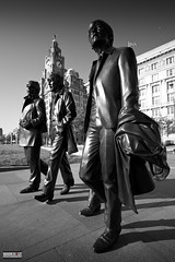 With the Beatles (Mark Holt Photography - 4 Million Views (Thanks)) Tags: blackandwhite bw sculpture art monochrome liverpool unesco publicart thebeatles merseyside theliverbuilding andrewedwards the3graces thecunardbuilding