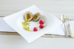 129/366: A passion for raspberries (judi may) Tags: stilllife food fruit dish linen plate fork spoon bowl raspberries placesetting passionfruit hessian foodphotography foodstyling tabletopphotography canon7d day129366 366the2016edition 3662016 8may16