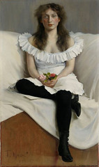 Portrait of a Young Woman in White, 1895 // by Torsten Wasastjerna ( Finland, 1863- 1924) (mike catalonian) Tags: portrait female painting fulllength 1890s 1895 xixcentury torstenwasastjerna