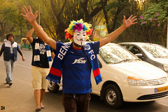 Fan's eXcitement :P (Kanishka****) Tags: road happy fan football support funny colorful play mask stadium bangalore excited enjoy kanishka