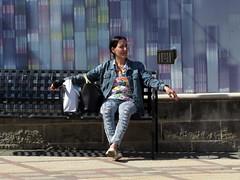 Bench People  - Shopping Break (Multielvi) Tags: new city blue woman colors shopping bench walk cigarette candid nj atlantic jeans shore jersey denim