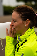 plasant lady rower in bright yellow (grahamrobb888) Tags: yellow lady tees rowers nikkor85mmf18 nikond800