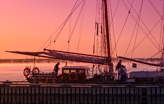 morning coffee (JimfromCanada) Tags: morning light sun mist coffee fog port sunrise river harbor boat dock sailing ship harbour crew sailor tallship brigantine stlawrenceii stlawrence2