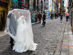 Hosier Lane (Rambo2100) Tags: city wedding urban streetart graffiti bride veil dress australia melbourne cobbles hosierlane edgy rambo2100