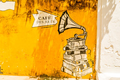 Cafe des Arts Graphitti (wandercrumbs) Tags: cafe des arts graphitti whitetown pondicherry puducherry