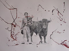 The Combatants (www.kevinmaxwellsfineart.com) Tags: bulls bullfighting graphite chinagraph blood anegitive blackandwhite josetomas toros torosymatadores matadores drawing spanish espana