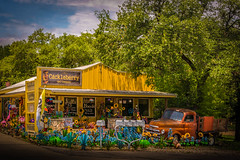Cackleberry and Company (Jims_photos) Tags: antiques antiquestore antiquecar wimberleytexas texas trees outdoor outside oldmemories adobelightroom adobephotoshop shadows daytime jimallen lightroom cloudy clouds vintage nopeople nikon7100 memories