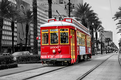 Hop aboard.........for only $1.25 (Cajun Snapper) Tags: red nola streetcar bigeasy neworleans streetphotography allaboard palmtrees frenchquarter canalstreet desire selectivecoloring railroad mardigras pleasehaveexactfare digitallouisiana harrahscasino canal 2006 southernexposure beads sunglasses cherryred mardigrasbeads 5d3 ef2470mmf28liiusm vieuxcarre handheld