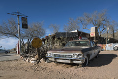 Hackberry PD (Curtis Gregory Perry) Tags: hackberry arizona 1965 impala police car automobile classic old rusty desert gas station stop sign route 66 highway nikon d800e chevrolet chevy