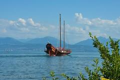 La Liberté à Morges (CH) (Annelise LE BIAN) Tags: orange sunshine port eau suisse bateaux bleu damn lacs nuages paysages nwn morges coth supershot lacléman fantasticnaturegroup coth5 laliberté galère
