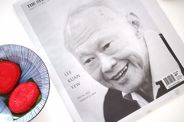 Straits Times Special Edition on the Death of Lee Kuan Yew, and ang ku kueh