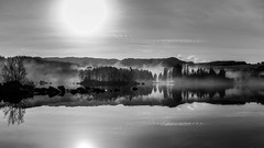 Early morning by the lake (Tommy Høyland) Tags: morning light blackandwhite bw sun sunlight white mist black mountains reflection tree nature water fog clouds landscape quiet shine horizon nobody bnw x100s
