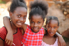Smiling girls in Uganda