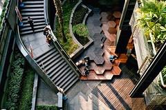 honeycomb wood deck. (howard-f) Tags: urban architecture analog design cityscape minolta taiwan taipei expiredfilm shinyi filmisnotdead minoltahimaticaf2 filmwaster istillshootfilm expiredkodak400