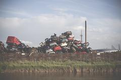 pile up (I AM JAMIE KING) Tags: car river pile vehicle scrapyard hull recycle scrap pileup