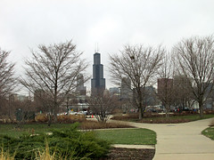 Looking back to the Willis Tower (debstromquist) Tags: chicago illinois spring towers parks il beaches southloop modernarchitecture cpd northerlyisland chicagoparkdistrict overcastskies 12thstbeach willistower akasearstower