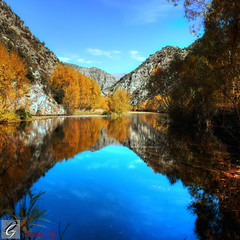 Deep Stream Reflection (Dan @ DG Images) Tags: blue autumn trees sky lake mountains reflection stream deep serene aviemore