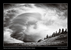 Stormy clouds along the Gladstone Valley Road, Southern Alberta (kgogrady) Tags: morning autumn trees blackandwhite bw canada fall grass clouds landscape blackwhite nikon cloudy hill noone ab stormy nopeople alberta infrared dx westerncanada 2015 southernalberta d80 canadianlandscapes cans2s nikkor1870mmf3545gifed picturesofalberta photosofalberta gladstonevalleyroad