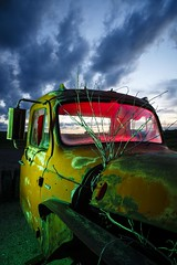 Green-Red Pickup II (Notley) Tags: light sunset red sky lightpainting tree green abandoned night clouds truck evening midwest rearviewmirror pickuptruck missouri april greenlight bluehour redlight nocturne 2016 10thavenue notley ruralphotography ruralusa overtonmissouri notleyhawkins coopercountymissouri missouriphotography httpwwwnotleyhawkinscom notleyhawkinsphotography