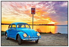 End of Day (juliewilliams11) Tags: sunset vw volkswagen waterfront outdoor australia hightide