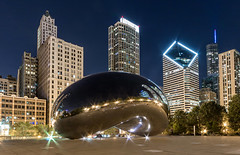 The cloud gate, Chicago (Sribha Jain) Tags: chicago reflection night long exposure bean milleniumpark clear reflective