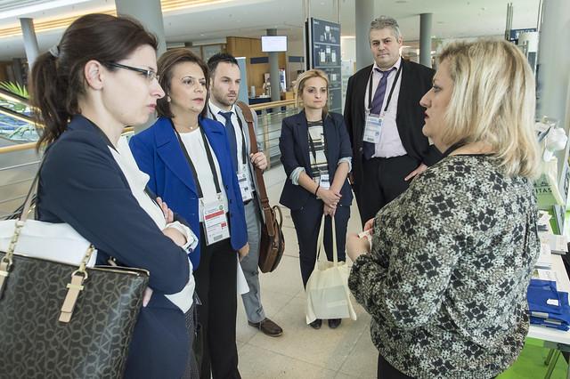 Marina Chrysoveloni listens to Akrivi Kiousi