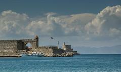 Coastline of the old town of Rhodos (marielledevalk) Tags: sea holiday water clouds boat outdoor ruin greece rhodos