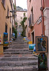 """The """"painted"""" stairs (somabiswas) Tags: city italy stairs buildings cityscape paintings sicily taormina citycentre"""