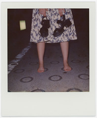 y_pola_017 (sudoTakeshi) Tags: street portrait fashion japan portraits polaroid tokyo model sale sandals harajuku barefoot  polaroid600 mule impossible    polaroid690     polaroid690slr   19
