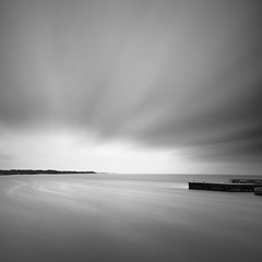Light at the Horizon (panfot_O (Bernd Walz)) Tags: longexposure sea blackandwhite bw seascape storm water monochrome square coast movement wind fineart tranquility balticsea minimal shore silence minimalism contemplation bornholm waterscape ndfilter