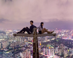 Posing at the crane... very high (PhoenixRoofing164) Tags: city roof urban feet rooftop architecture night skyscraper photography lights climb high cityscape nightscape legs top altitude nightview climber exploration height roofing cityview acrophobia roofer rooftopper rooftopping