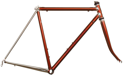 <p>Waterford 22-Series frame with custom Empire (art deco) lugs, painted Copper Metallic, with flat cap seat stay treatment and stainless seatstays.</p>